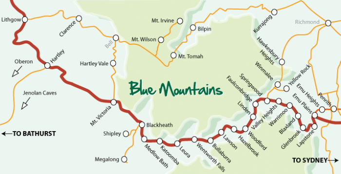 Australia Map Mountains.Blue Mountains Region Location And Maps